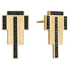 Doryn Wallach Black Diamond and Yellow Gold Empire Stud Earrings