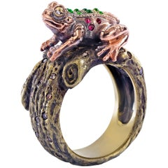 Wendy Brandes One-of-a-Kind 18K Gold and Gemstone Frog Ring With Hidden Prince