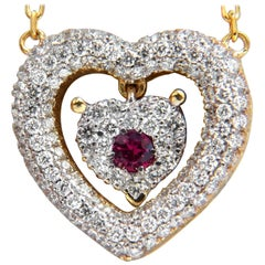 .75 Carat Natural Ruby Diamonds Dangle Heart Necklace 18 Karat