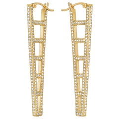 Doryn Wallach White Diamond and Yellow Gold Ladder Hoop Earrings