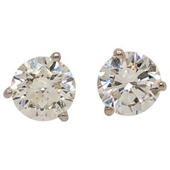 1.39 Carat Round Cut Diamond and White Gold Diamond Stud Earrings