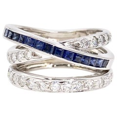 White Gold Diamond and Sapphire Crossover Ring