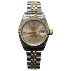 Rolex Ladies Date 69173 18 Karat Yellow Gold and Stainless Steel