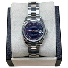 Rolex Ladies Datejust 179160 Stainless Steel Blue Roman Dial Box and Papers