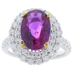 Emteem Lab Certified 5.35 Carat Oval Pink Sapphire and Diamond Cocktail Ring