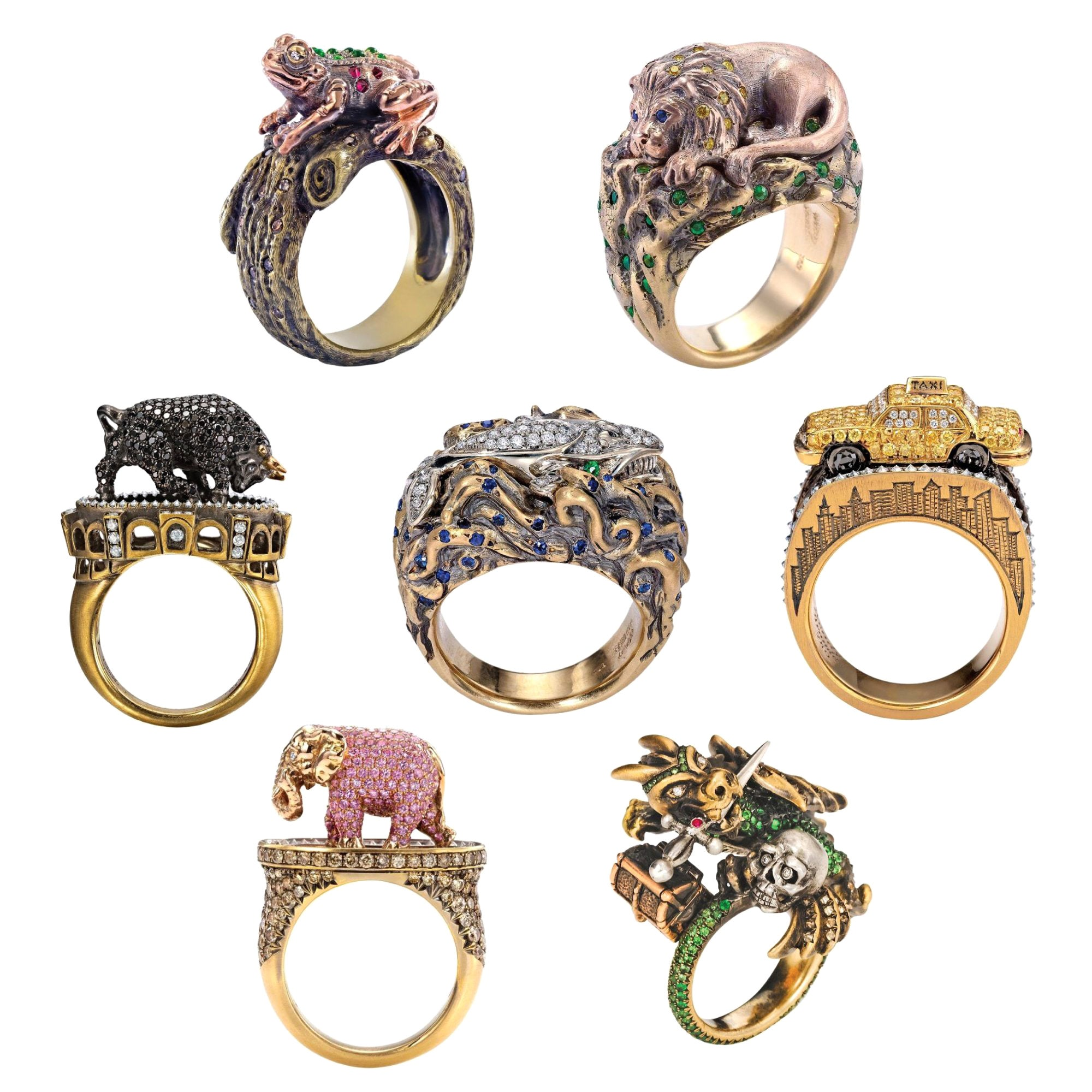 Wendy Brandes 7-Piece One-of-a-Kind Diamond and Gemstone Feminist Ring Set