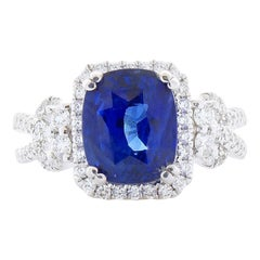 EGL Gem Lab Certified Cushion Cut Blue Sapphire & Diamond Cocktail Ring In 18k
