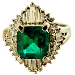 Antique Emerald Diamond Platinum Engagement Ring