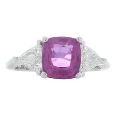 Emteem Lab Certified 3.07 Carat Cushion Cut Pink Sapphire and Diamond Ring