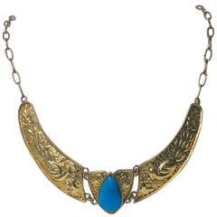 Art Nouveau Style Yellow Gold and Turquoise Necklace