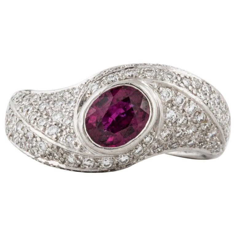 Platinum Ruby Diamond Ring For Sale