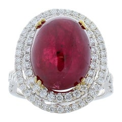 Emteen Lab Certified 11.48 Carat Oval Cabochon Ruby and Diamonds Cocktail Ring