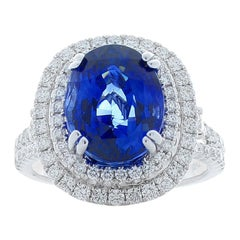EGL Gem Lab Certified Oval Blue Sapphire and Diamond Cocktail Ring in White Gold