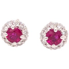 Ruby Diamond and White Gold Diamond Stud Earrings