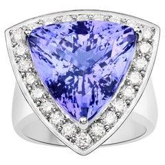 15.91 Carat Tanzanite Diamond 18 Karat White Gold Cocktail Ring