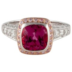 14 Karat Platinum Pink Tourmaline Diamond Ring