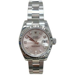 Rolex Ladies Datejust 179174 Silver Diamond Dial Stainless Steel and 18 Karat