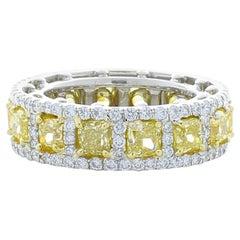 5.10 Carat Cushion Cut Natural Fancy Yellow Diamond Ring in 18 Karat White Gold