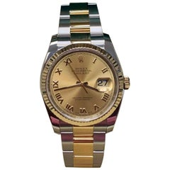 Rolex Datejust 116233 Roman Dial 18 Karat Gold and Steel Box Papers 2017