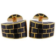 Angela Cummings Black Jade Inlay Gold Cufflinks
