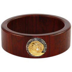 Wood Bangle 18 Karat Yellow Gold