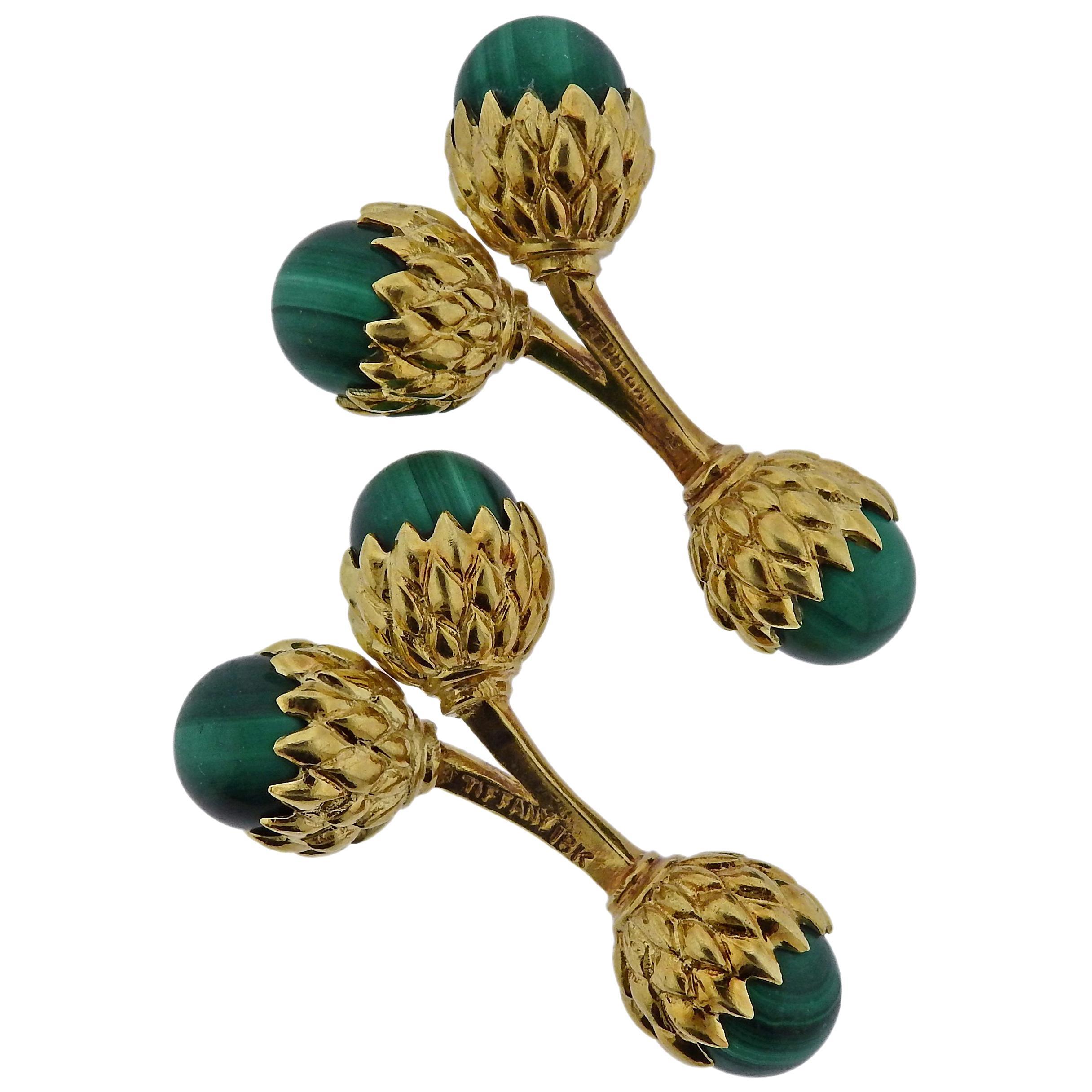Tiffany & Co. Schlumberger Malachite Gold Acorn Cufflinks