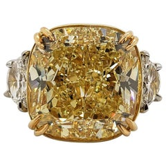 Scarselli 20 Carat Fancy Yellow Cushion Cut Diamond Ring VVS2 in Platinum, GIA