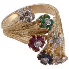 18 Karat Multi Gem Flower Ring