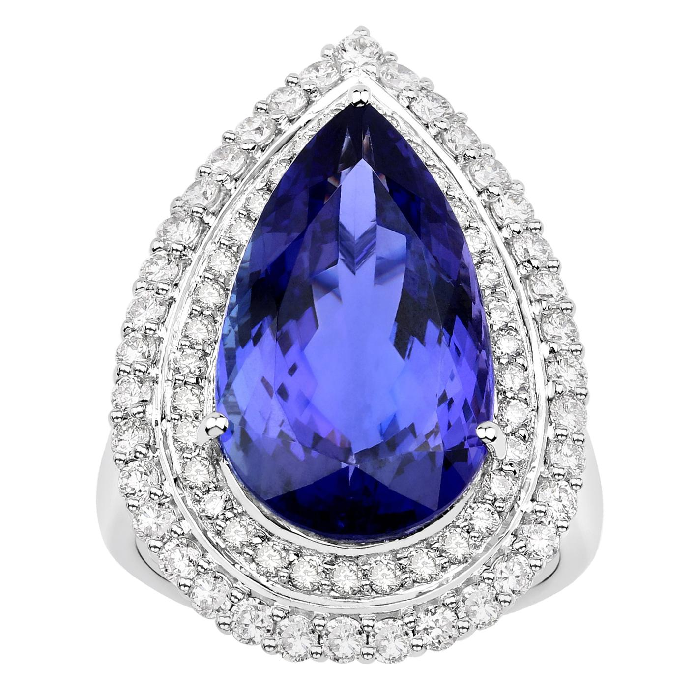 14.68 Carat Tanzanite Diamond 18 Karat White Gold Cocktail Ring