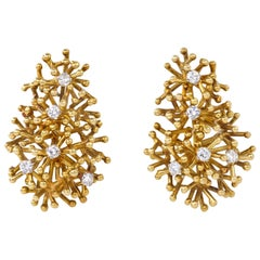 1971 David Thomas Diamond and Gold Ear Clips