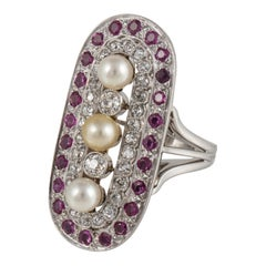 Platinum Pearl Ruby Diamond Ring