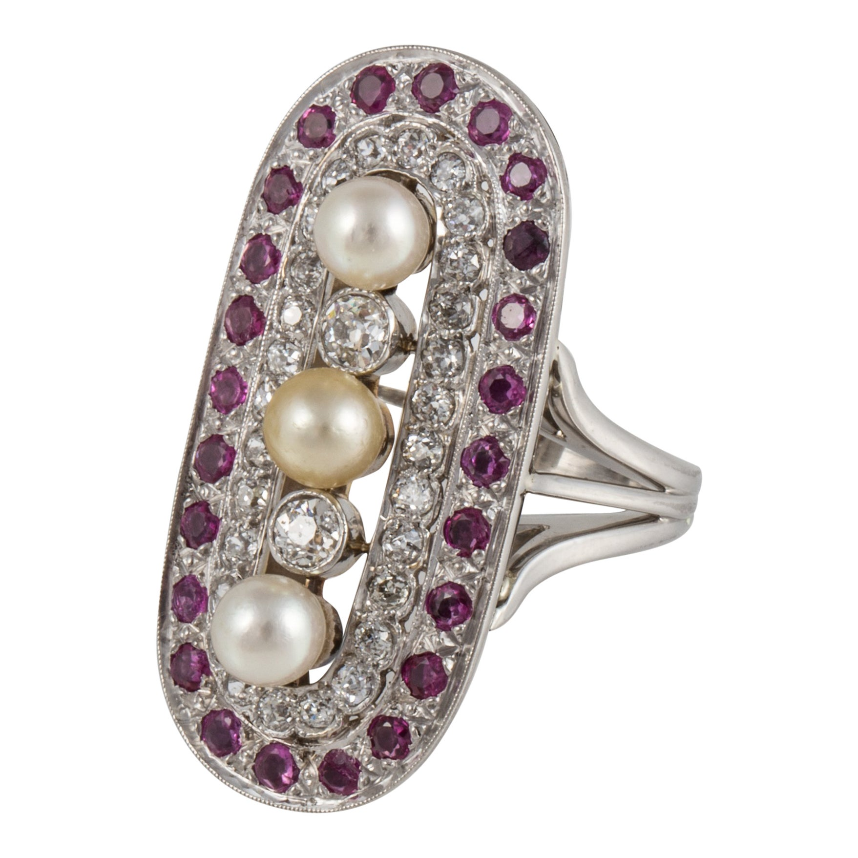Platinum Pearl Ruby Diamond Ring