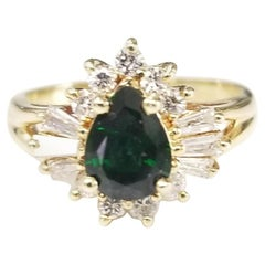 14 Karat Yellow Gold Tsavorite and Diamond Ring