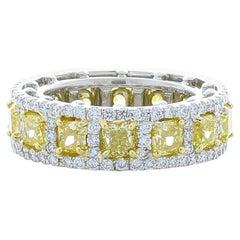 4.78 Carat Total Cushion Cut Natural Fancy Yellow Diamond Two Tone Ring In 18K