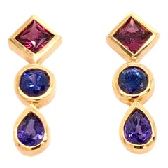 Pink Indigo and Violet Sapphire Yellow Gold Drop Earrings