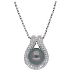 Black Tahitian Pearl and Diamond Pendant Necklace