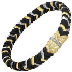Sarah Graham White Diamond Gold Cobalt Chrome Rattlesnake Grass Bracelet
