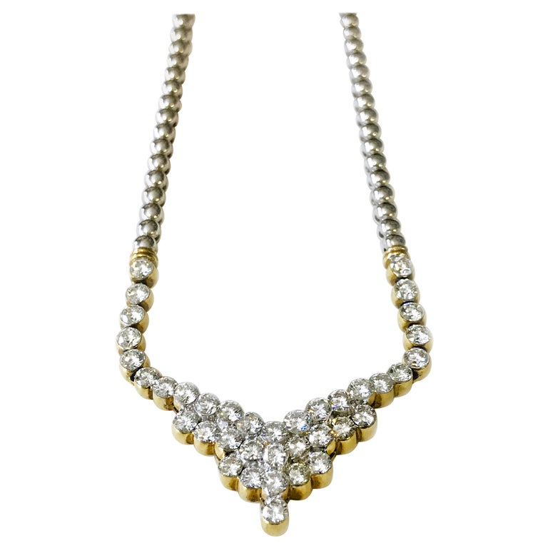 7.20 Carat Two-Tone Diamond Necklace For Sale
