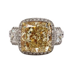 Scarselli Six Carat Fancy Yellow Cushion Cut Diamond Ring in Platinum, GIA