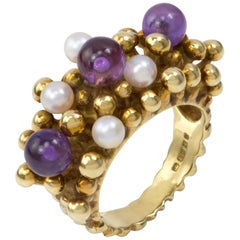 1979 Stuart Devlin Amethyst, Pearl and Gold Ring