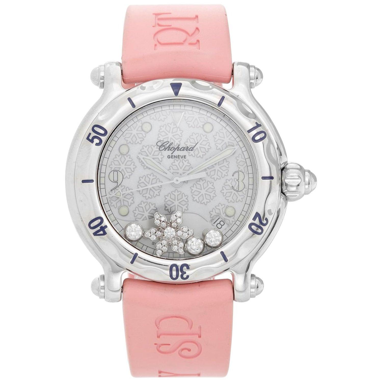 e26f53f6e55ce Chopard Ladies Stainless Steel Happy Sport Quartz Wristwatch at 1stdibs