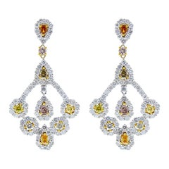 5.77 Carat Total Fancy Cut Fancy Color Diamond Earrings in 14 Karat White Gold