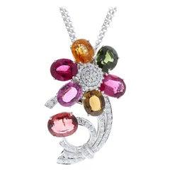 70.00 Carat Total Multi-Color Oval Tourmaline and Diamond Pendant Necklace