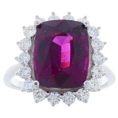 EGL Certified 5.14 Carat Cushion Cut Rhodolite Garnet and Diamond Cocktail Ring