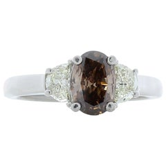 0.80 Carat Oval Fancy Brown and Half Moon Diamond Cocktail Ring in Platinum