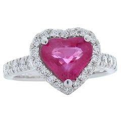 2.19 Carat Heart Shape Ruby and Diamond Cocktail Ring in 18 Karat White Gold