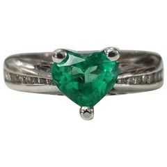 14 Karat Yellow Gold Emerald Heart and Diamond Ring