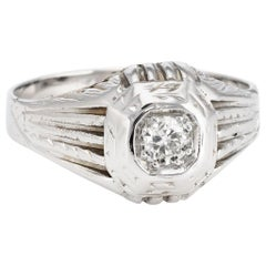 Antique Deco Diamond Ring Vintage 18 Karat Gold Estate Fine Jewelry Heirloom