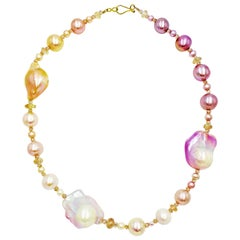 Ombré Baroque Pearl and Sunstone Bead Necklace