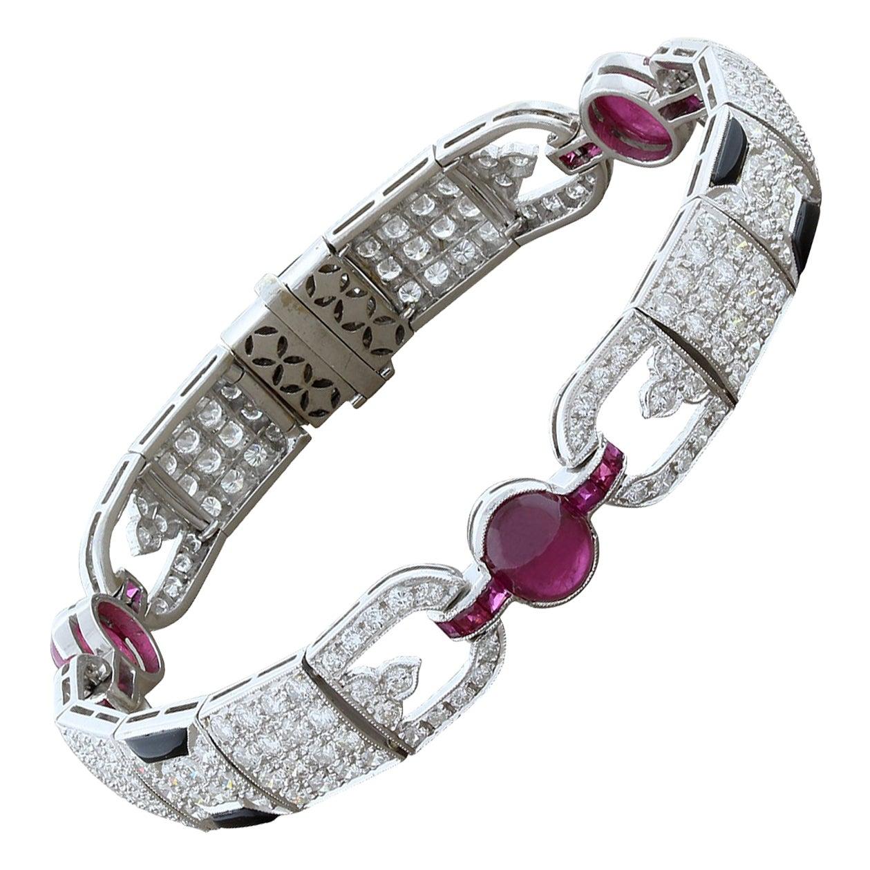 Ruby Black Onyx Diamond Gold Bracelet